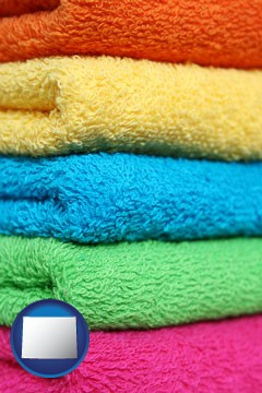 colorful bath towels - with Wyoming icon