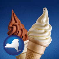 new-york soft chocolate and vanilla ice cream cones