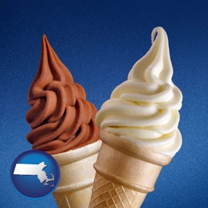 soft chocolate and vanilla ice cream cones - with Massachusetts icon