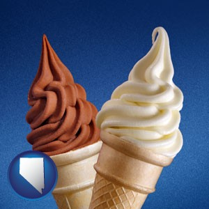 soft chocolate and vanilla ice cream cones - with Nevada icon