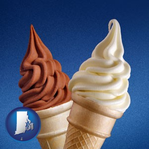 soft chocolate and vanilla ice cream cones - with Rhode Island icon