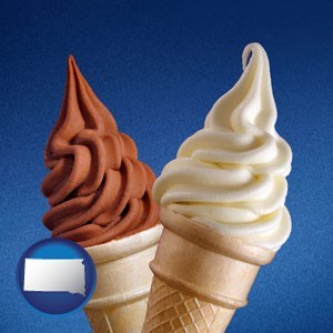 soft chocolate and vanilla ice cream cones - with South Dakota icon
