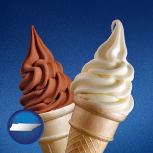 soft chocolate and vanilla ice cream cones - with Tennessee icon
