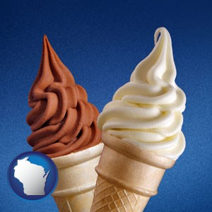 soft chocolate and vanilla ice cream cones - with Wisconsin icon