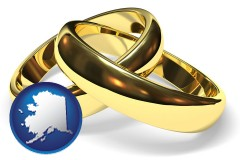alaska map icon and wedding rings