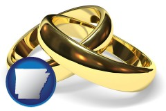 arkansas map icon and wedding rings
