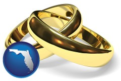 florida map icon and wedding rings