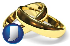 indiana map icon and wedding rings