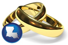 louisiana map icon and wedding rings