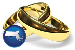 massachusetts map icon and wedding rings