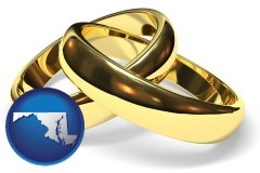 maryland map icon and wedding rings