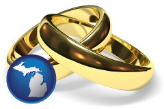 michigan map icon and wedding rings
