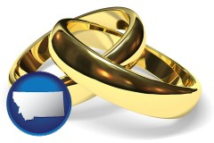 montana map icon and wedding rings