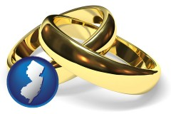 new-jersey map icon and wedding rings