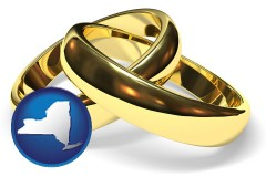new-york map icon and wedding rings