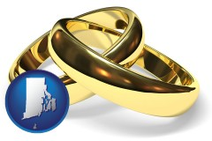 rhode-island map icon and wedding rings