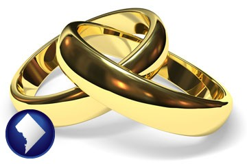 wedding rings - with Washington, DC icon