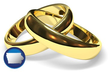 wedding rings - with Iowa icon
