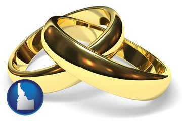 wedding rings - with Idaho icon