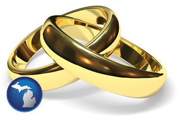wedding rings - with Michigan icon