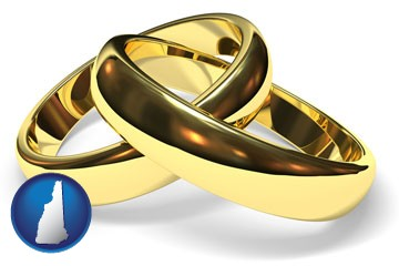 wedding rings - with New Hampshire icon