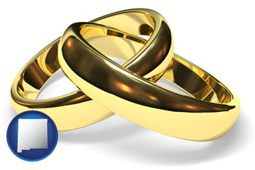 wedding rings - with New Mexico icon
