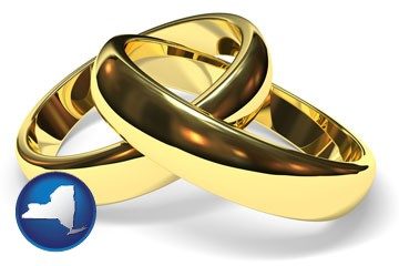 wedding rings - with New York icon