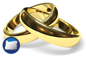 wedding rings - with Oregon icon