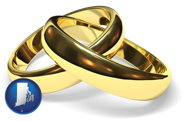 wedding rings - with Rhode Island icon