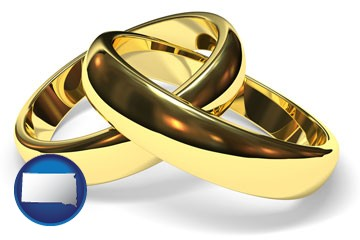wedding rings - with South Dakota icon