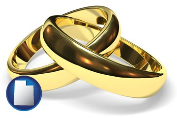wedding rings - with Utah icon