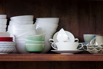 crockery on kitchen pantry shelf
