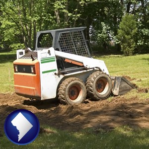 landscaping equipment (a skid-steer loader) - with Washington, DC icon