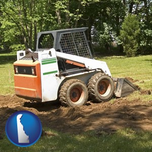landscaping equipment (a skid-steer loader) - with Delaware icon