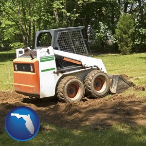 landscaping equipment (a skid-steer loader) - with Florida icon