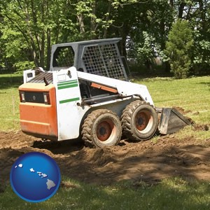 landscaping equipment (a skid-steer loader) - with Hawaii icon