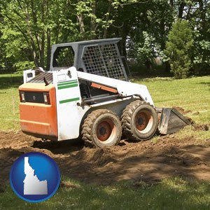 landscaping equipment (a skid-steer loader) - with Idaho icon