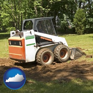 landscaping equipment (a skid-steer loader) - with Kentucky icon