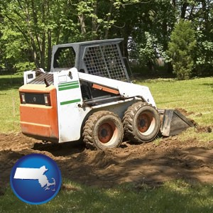 landscaping equipment (a skid-steer loader) - with Massachusetts icon