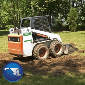 landscaping equipment (a skid-steer loader) - with Maryland icon