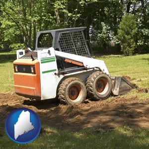 landscaping equipment (a skid-steer loader) - with Maine icon