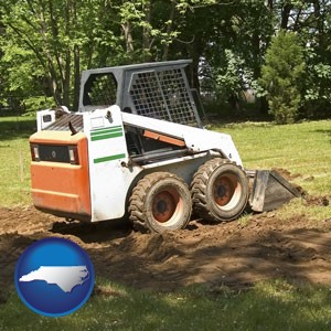 landscaping equipment (a skid-steer loader) - with North Carolina icon