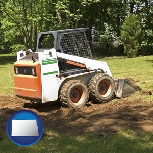 landscaping equipment (a skid-steer loader) - with North Dakota icon