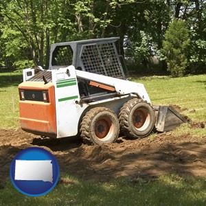 landscaping equipment (a skid-steer loader) - with South Dakota icon
