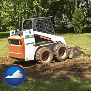landscaping equipment (a skid-steer loader) - with Virginia icon
