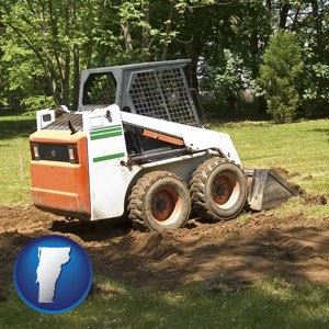 landscaping equipment (a skid-steer loader) - with Vermont icon