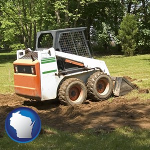 landscaping equipment (a skid-steer loader) - with Wisconsin icon