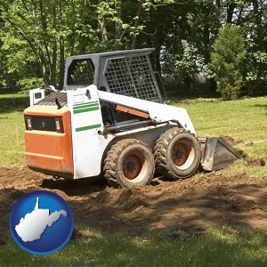 landscaping equipment (a skid-steer loader) - with West Virginia icon