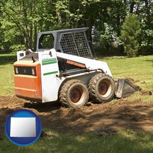 landscaping equipment (a skid-steer loader) - with Wyoming icon