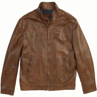 a brown leather jacket